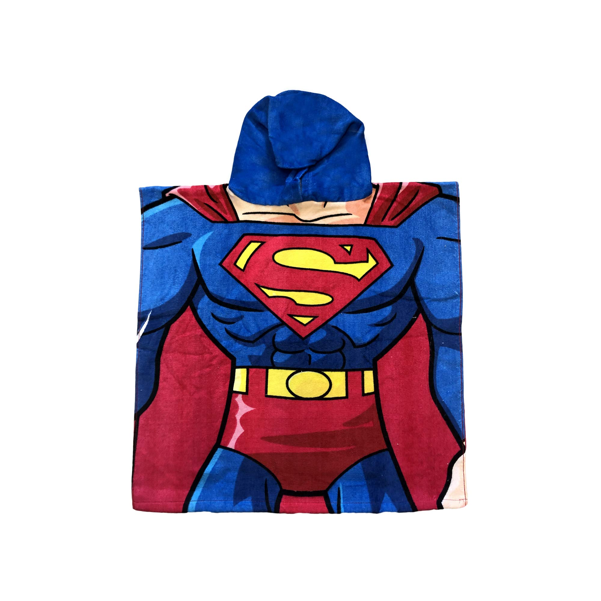 SuperMan Super Hero Body and Chin Muscular Body on The Back, Hooded Poncho Towel