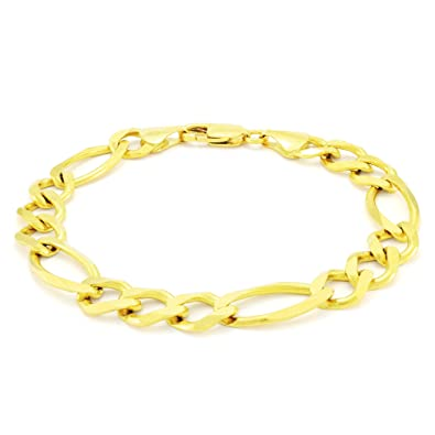 641880c76 Image Unavailable. Image not available for. Color: Men's 14K Yellow Gold  Solid 9.5mm Figaro Link Chain Bracelet ...