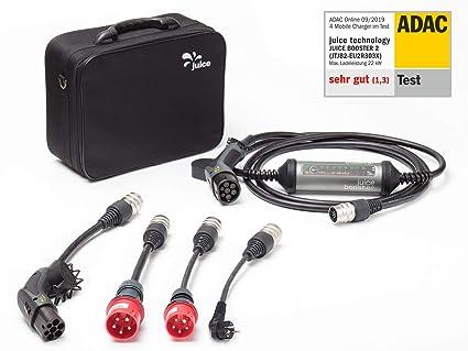 Juice Booster 2 - Cargador para Coche eléctrico (32 A, 3 Fases, 1 Fase, Tipo 2 AC,Tesla Model 3, Incluye Adaptador CEE32, CEE16, Schuko y Tipo 2, IEC ...