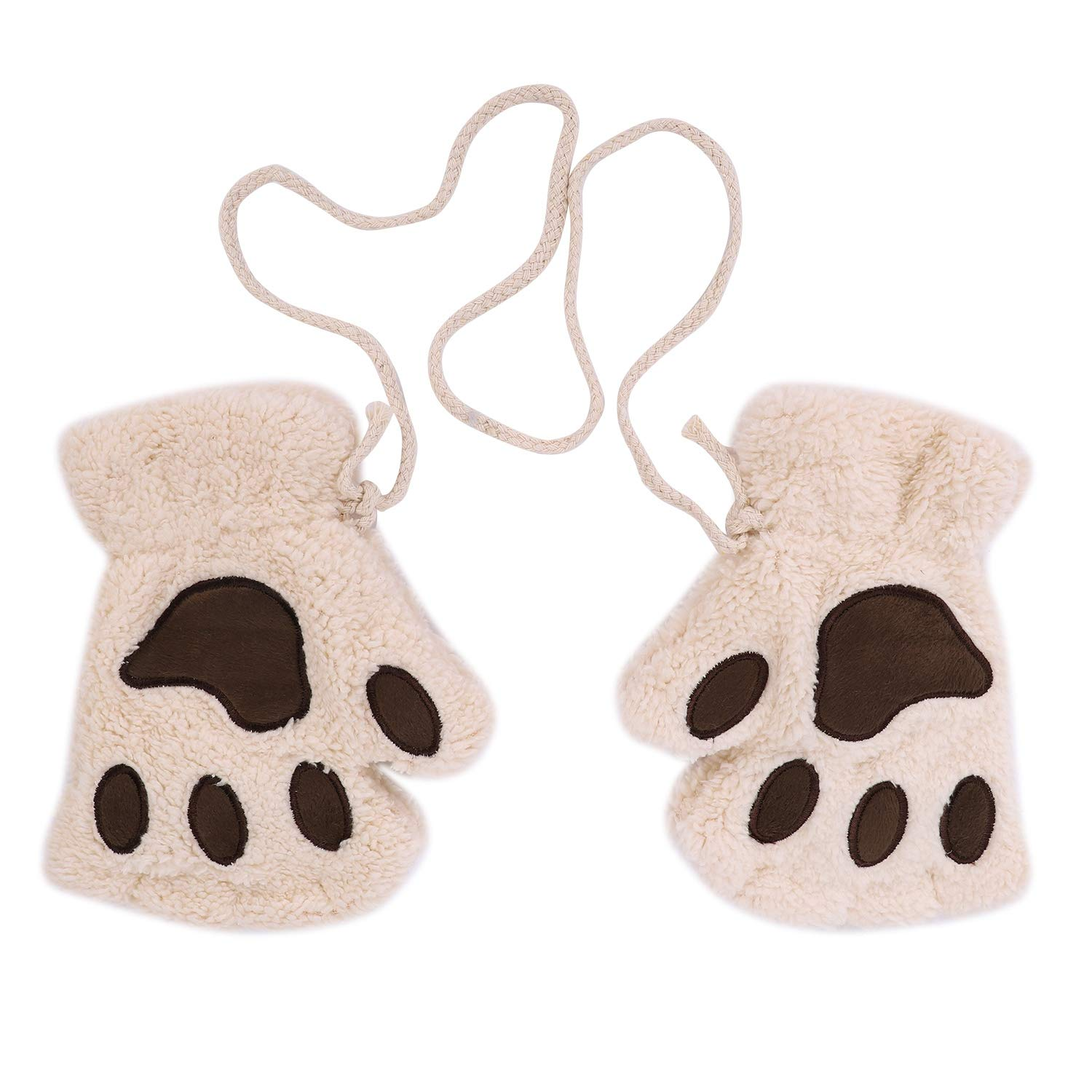 Girls Boys Faux Fur Gloves Cute Paw Gloves Mittens Half Finger Gloves with Anti-lost String Hanging Neck Gloves Mittens Warm Plush Gloves Thermal Skiing Gloves Hand Warmers Birthday Xmas Gift