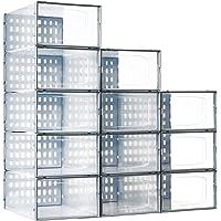 Secret Space Shoe Storage Boxes Clear Stackable, 12 Pack Plastic Shoe Organizer for Closet, Drop Front Shoe Container…