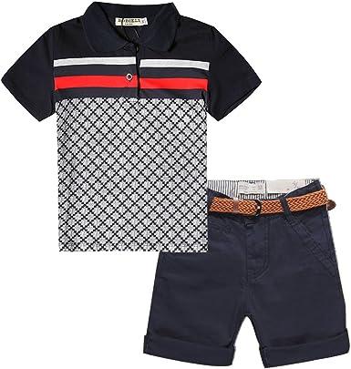 Amazon.com: Budermmy Toddler Boys Short Sets Cotton Kids Polo Shirts and  Pants Outside Clothing(Black, 7 Year): Clothing