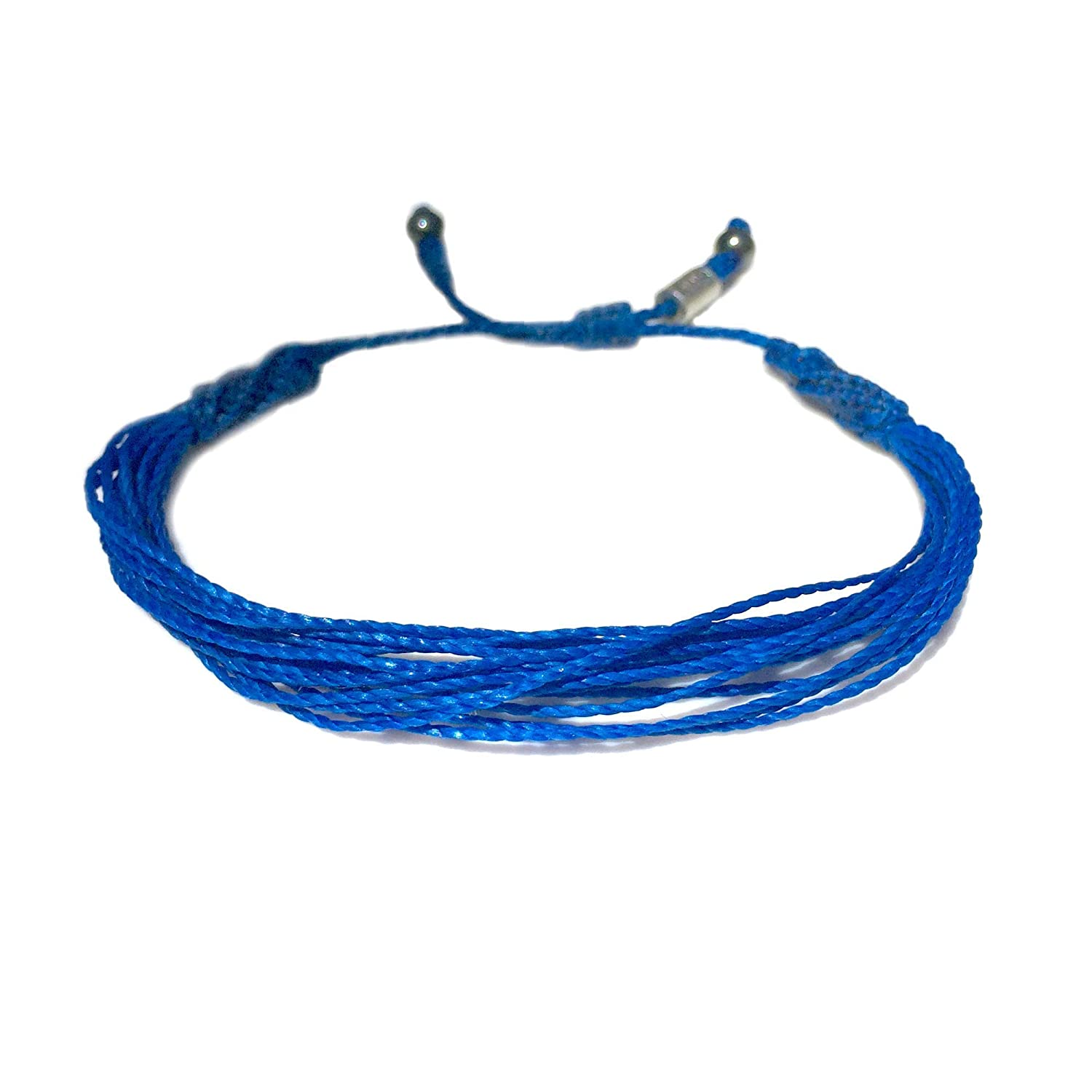 Amazon Com Rumi Sumaq Blue Awareness Bracelet Adjustable Cord String For Alopecia Anti Bullying Huntington S Disease Colon Colorectal Cancer Epstein Barr Cause Jewelry Handmade