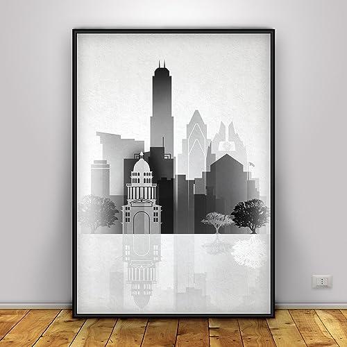 Amazon.com: Austin Black and White Print, Austin Silhouette Poster ...