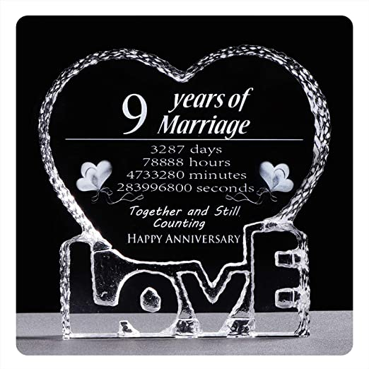 Amazon Com Ywhl 9 Year 9th Wedding Anniversary Crystal Sculpture Keepsake Gifts For Her Wife Girlfriend Him Husband 9 Year Office Products