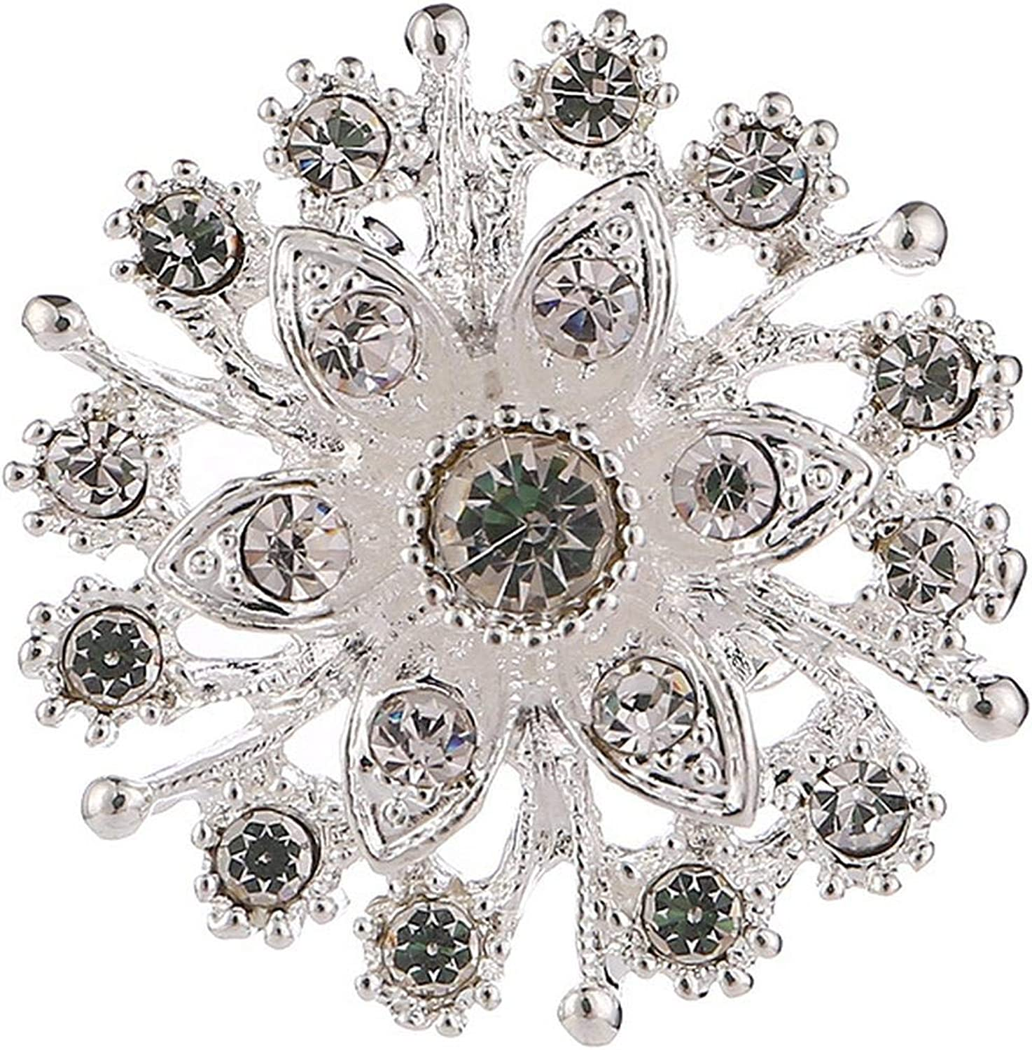 Kabby Fashion Women Silvery Color Flower Shapes Crystals Imitation Pearl Brooch Pin Jewelry Gift pins broches de Strass luxo