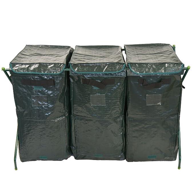 300L Garden Tacho de basura de Eco amigable orgánico Compost suelo conversor de almacenamiento residuos reciclaje bolsa huertos: Amazon.es: Hogar
