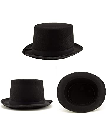 0b6ffda32a2 Adorox Sleek Felt Black Top Hat Fancy Costume Party Accessory (Black (1 Hat)