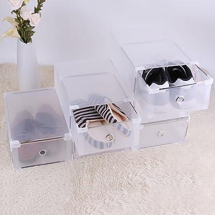 Homgrace 10 Cajas para Zapatos Transparente Plástico, Caja Guardar Zapatos, Calcetines, Juguetes, Cinturones para la organización de su hogar, ...