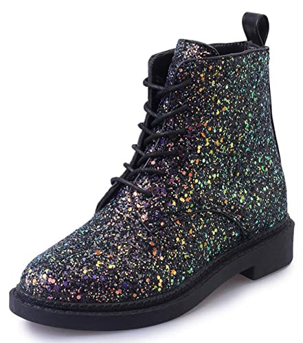 Women's Glitter Sequins Low Chunky Heels Lace Up Martin Ankle Boots Short Booties