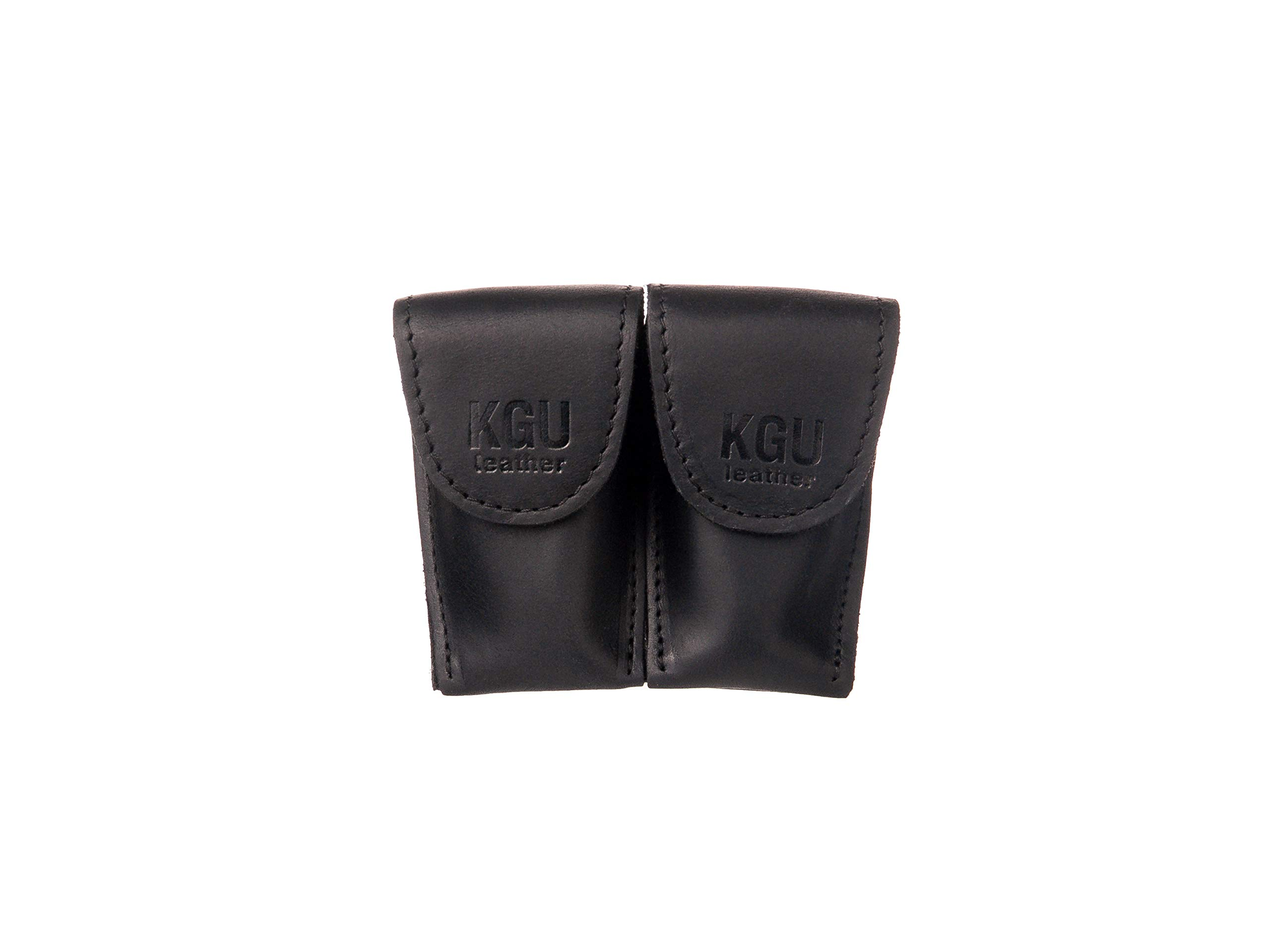 FRENCH HORN MOUTHPIECE POUCH (3 MODELS). CRAZY HORSE LEATHER. (Double, Black) by KGUBrass