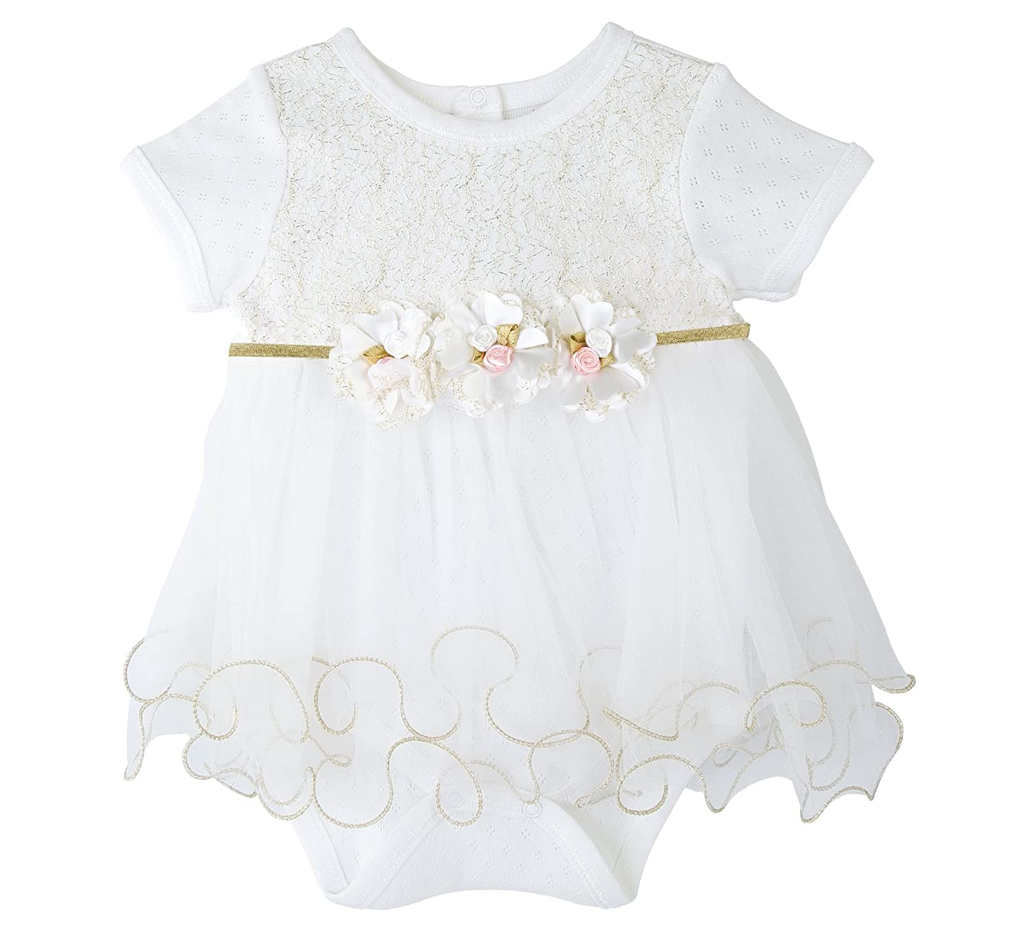 Taffy Baby Girl Newborn Gold Glitter Floral Short Sleeve Unique Tutu Bodysuit 20255