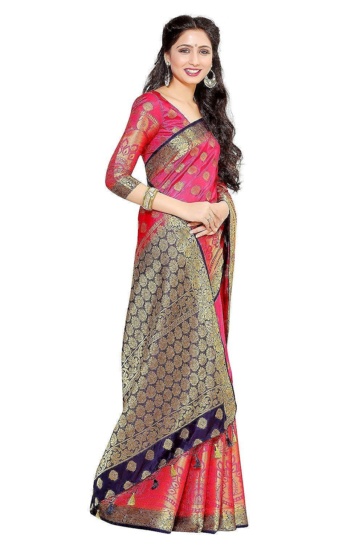 Fasherati Bollywood Sari Women's Art Silk Saree Kanjivaram Style Color: Strawberry Sari women 87
