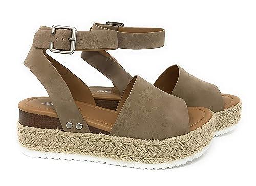 8b19bb99dd1 Soda Womens Topic Espadrille Sandal Shoes Natural Nubuck 6: Amazon ...