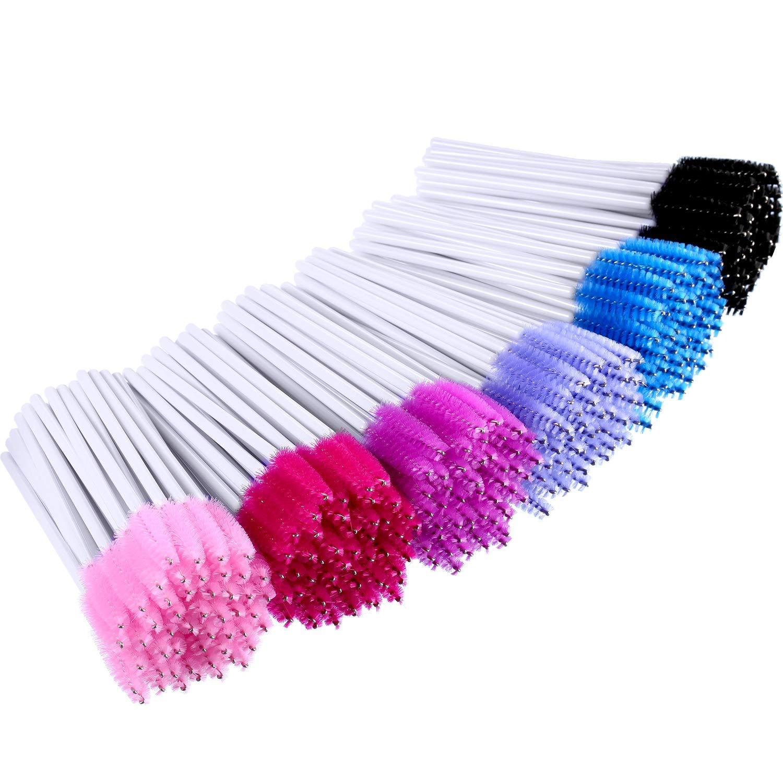 M-Aimee 300 Pieces Colored Disposable Mascara Wands Eyelash Eye Lash Brush Makeup Applicators Kit (White Handle, Multicolor Head)