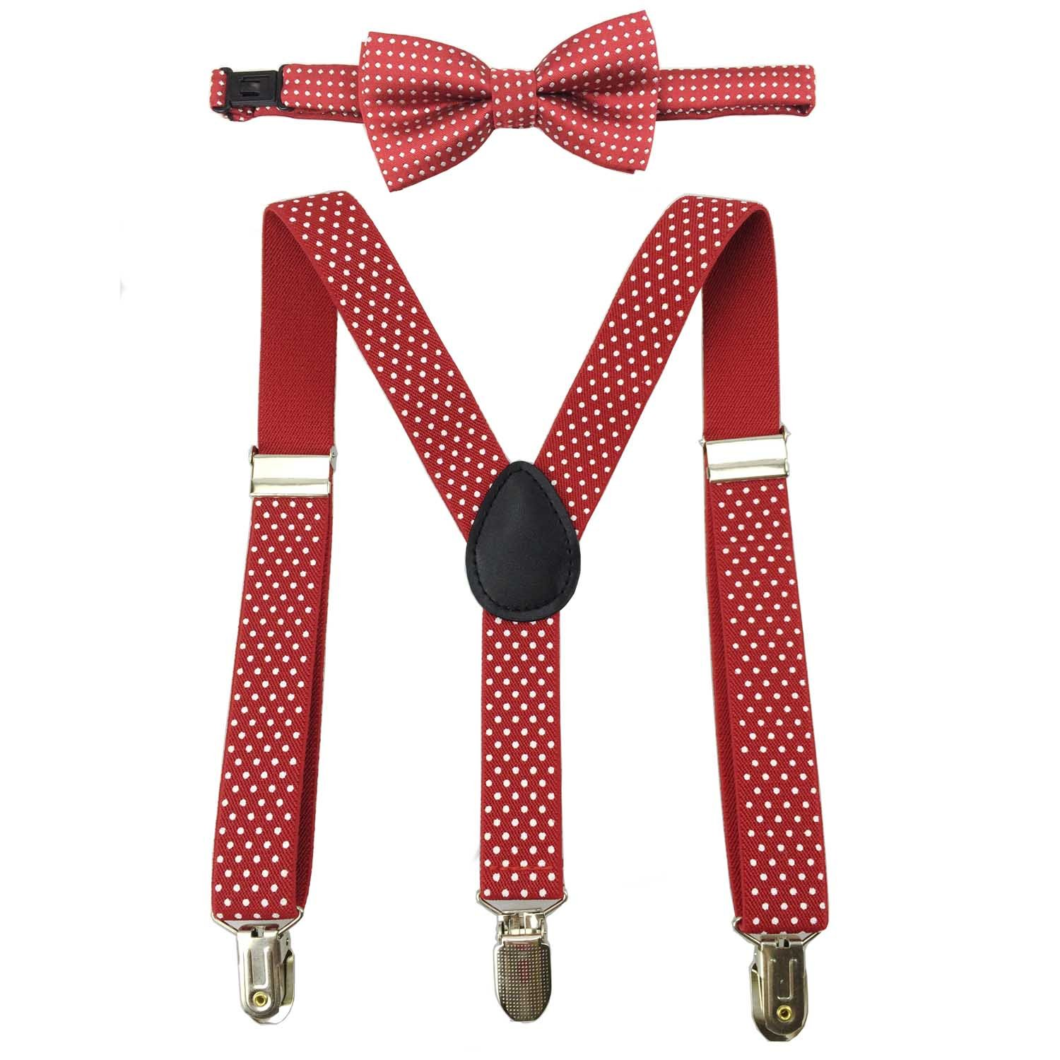 Suspenders for Boy 3 Clip End Y Back Adjustable White Dot with Bowtie Set for Wedding