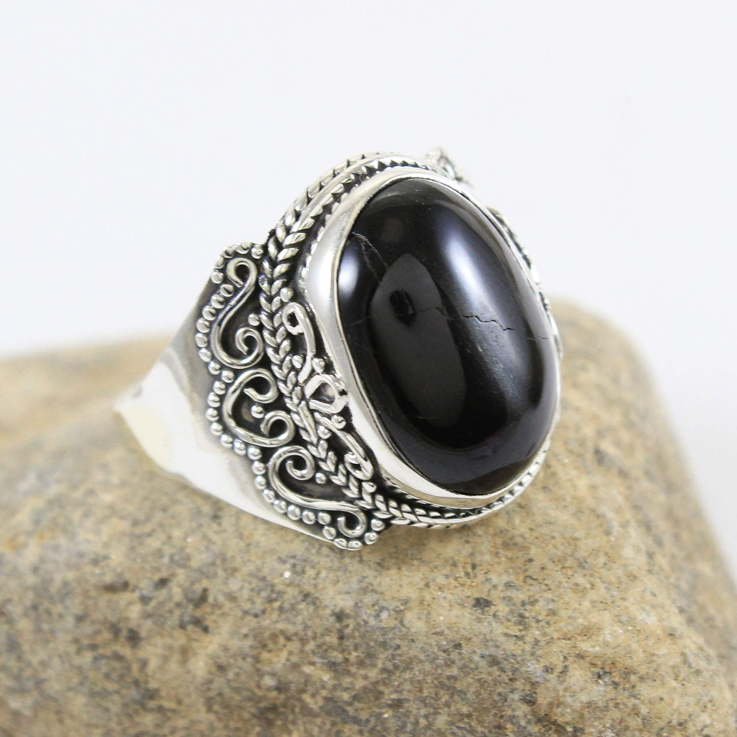 Natural black onyx ring gorgeous ring. december birthstone ring handmade 925 sterling silver ring gift for her anniversary ring