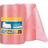 Switory Roze Anti-statische Bubble Wrap Roll 30.5 Bubble Cushioning Wrap Roll 2 Rolls 11m Totaal, geperforeerd elke 12…