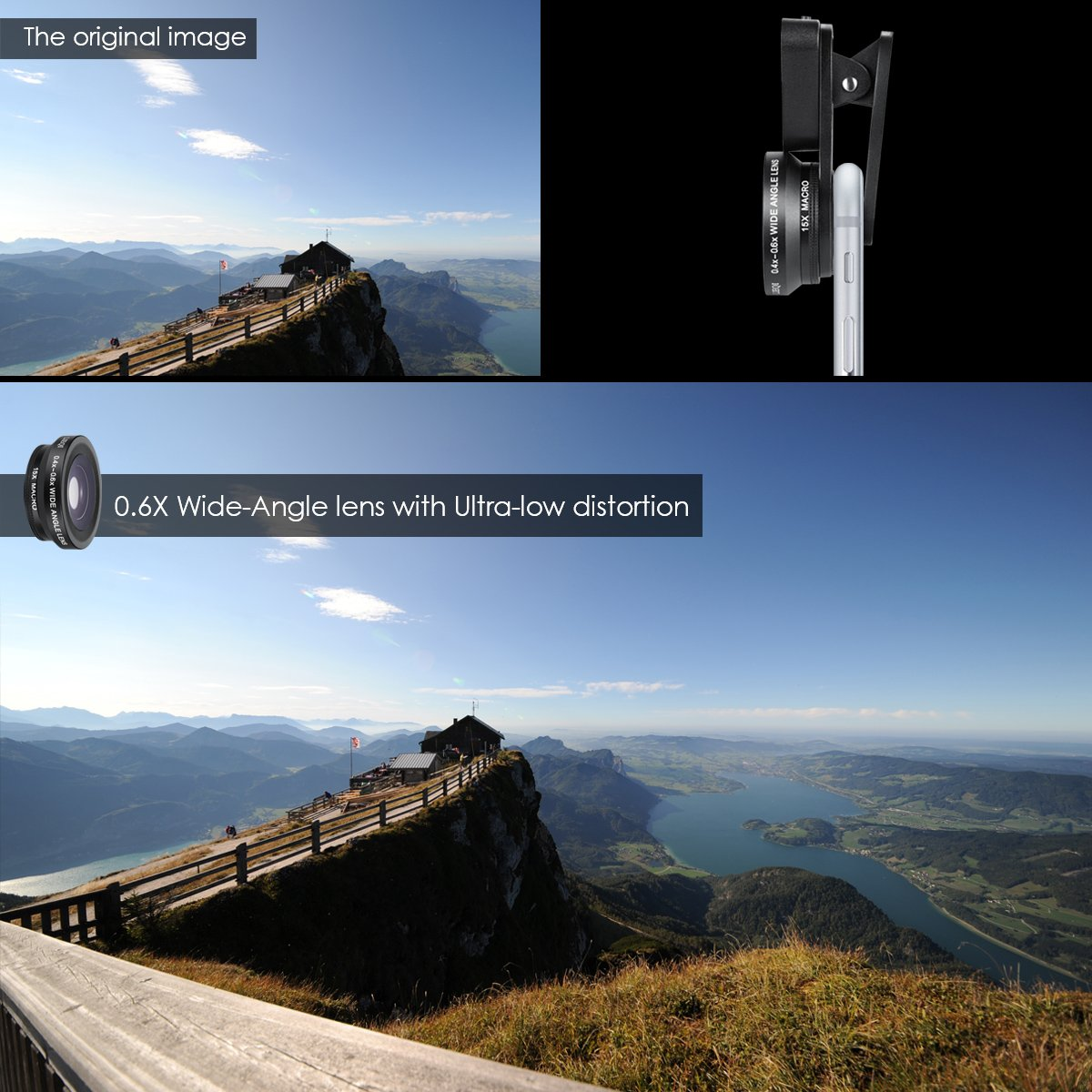 etc 3 Adjustable Brightness Fill Light for iPhone X Rechargeable Selfie Ring Light AMIR Phone Camera Lens Samsung On-Camera Video Light for iPhone 7 Plus 15X Macro Lens /& Wide Angle Lens