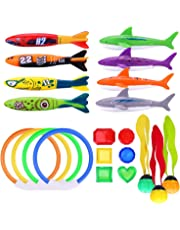 WATINC 21Pcs Underwater Swimming/Diving Pool Toy Set, Toypedo Bandits, Rings, Diving Toy Balls, Under Water Treasures Gift, Diving Shark Toy, Dive Gift for Children Kids