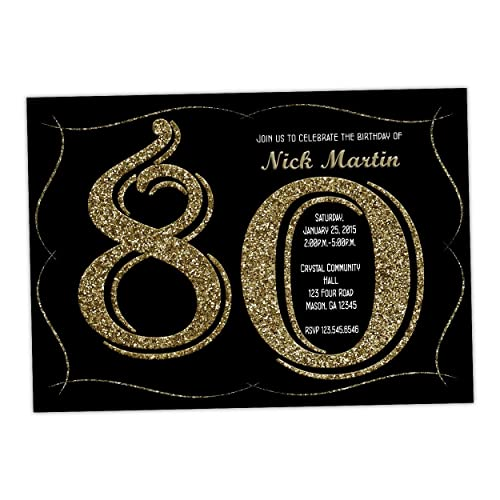 Amazon Milestone Gold Glitter Birthday Invitations Adult Man