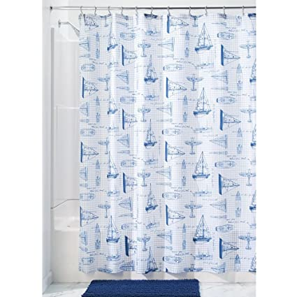 InterDesign Sailboat Fabric Polyester Shower Curtain 72quot X
