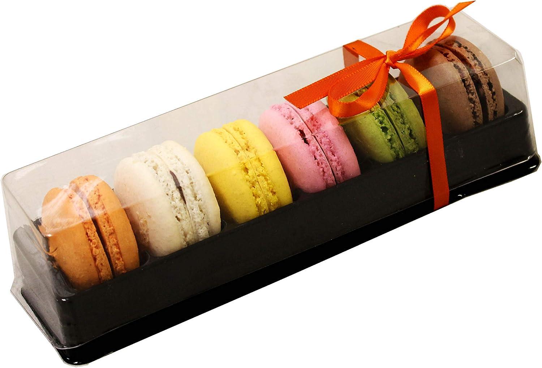 Macarons de plástico transparente y negro – Cajas de regalo pequeñas – Capacidad para 6 macarons – Pack de 20: Amazon.es: Hogar