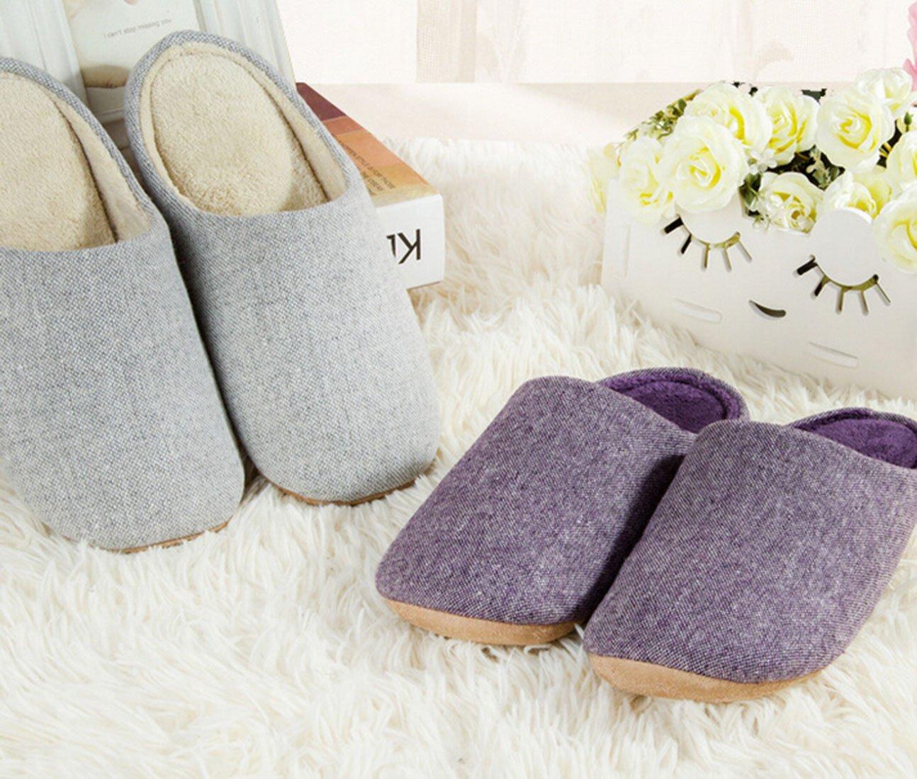 Bronze Times(TM) House Slippers,Womens Coral Fleece Memmory Foam Indoor Footwear,grey,M by Bronze Times (Image #5)