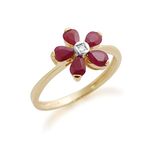 Gemondo Ruby Ring, 9ct Yellow Gold 1.10ct Ruby & Diamond Floral Ring