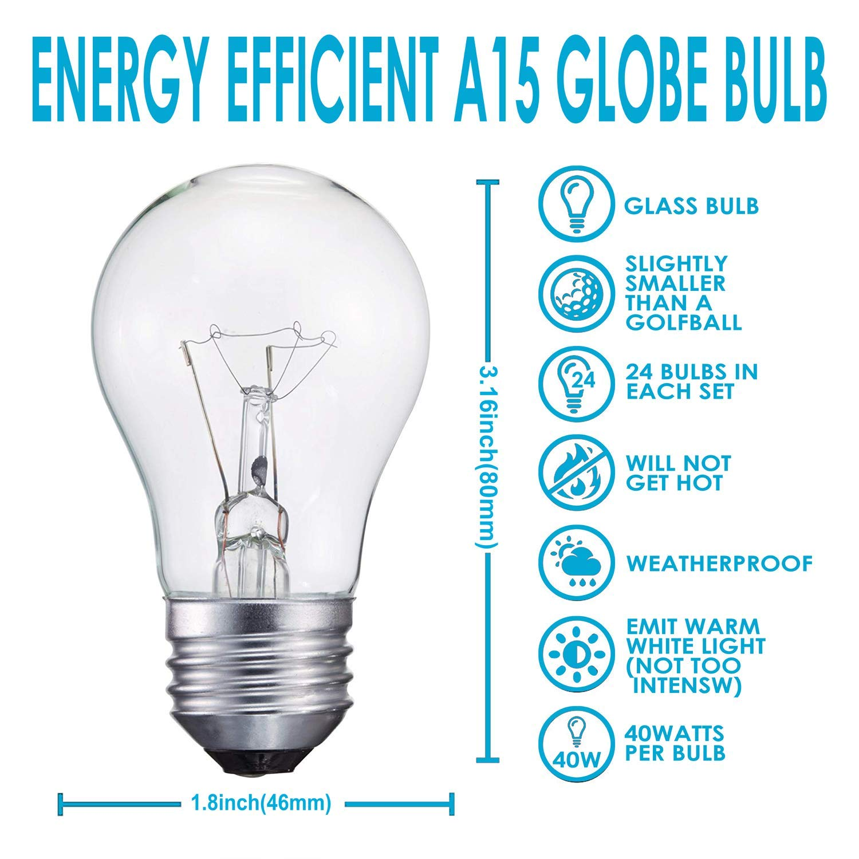 40-Watt Appliance Bulb, Appliance Light Bulb 40w A15, 120v 40w Refrigerator Bulb Clear Ceiling Fan Bulbs Medium (E26) Standard Household Base Crystal Clear, 24Packs by LEDESIGN (Image #3)