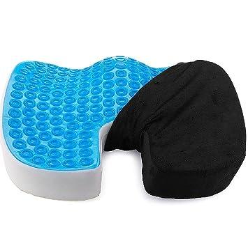 coxis Cojín Cool Gel ortopédica Memory espuma cojín asiento de coche grande Durable almohada para espalda ...