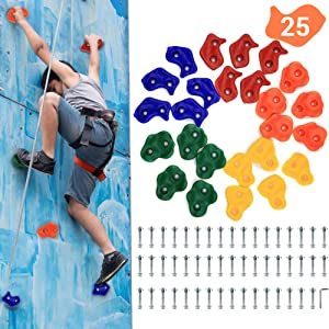 AmazeFan 25 DIY Rock Climbing Holds for Kids & Adults, Climbing Wall Grip Kits for Outdoor Indoor Home Playground with Mounting Hardware for Up to 2