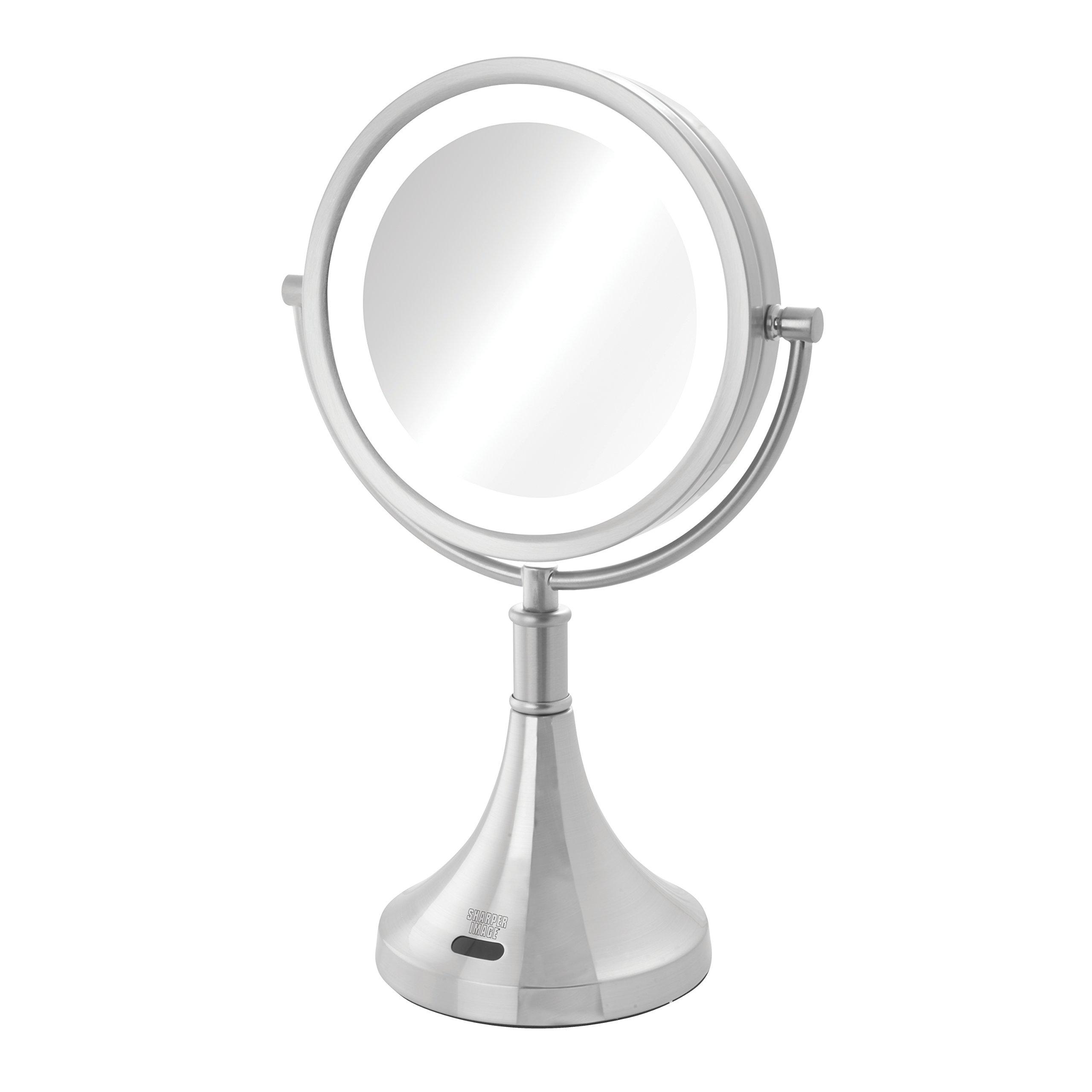 Sharper Image 8X-1X LED Lighted Sensor Mirror, Nickel, 2.95 Pound