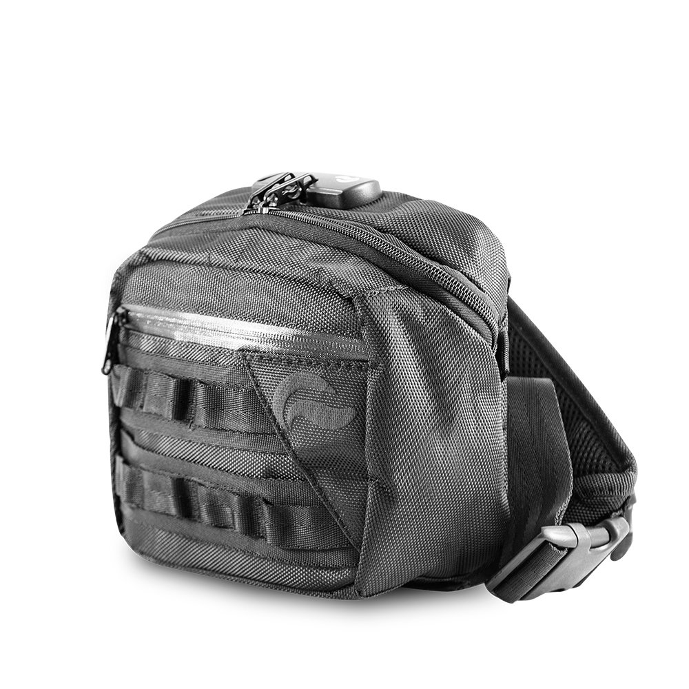 Skunk Kross Smell Proof Fanny Pack Hipster Bag w/Combo Lock (Black)