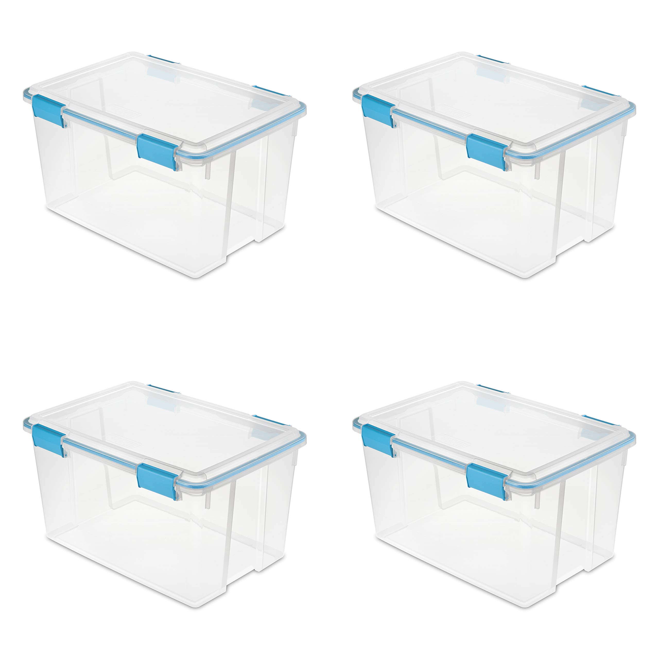 Sterilite 19344304 54 Quart/51 Liter Gasket Box, Clear with Blue Aquarium Latches and Gasket, 4-Pack by STERILITE