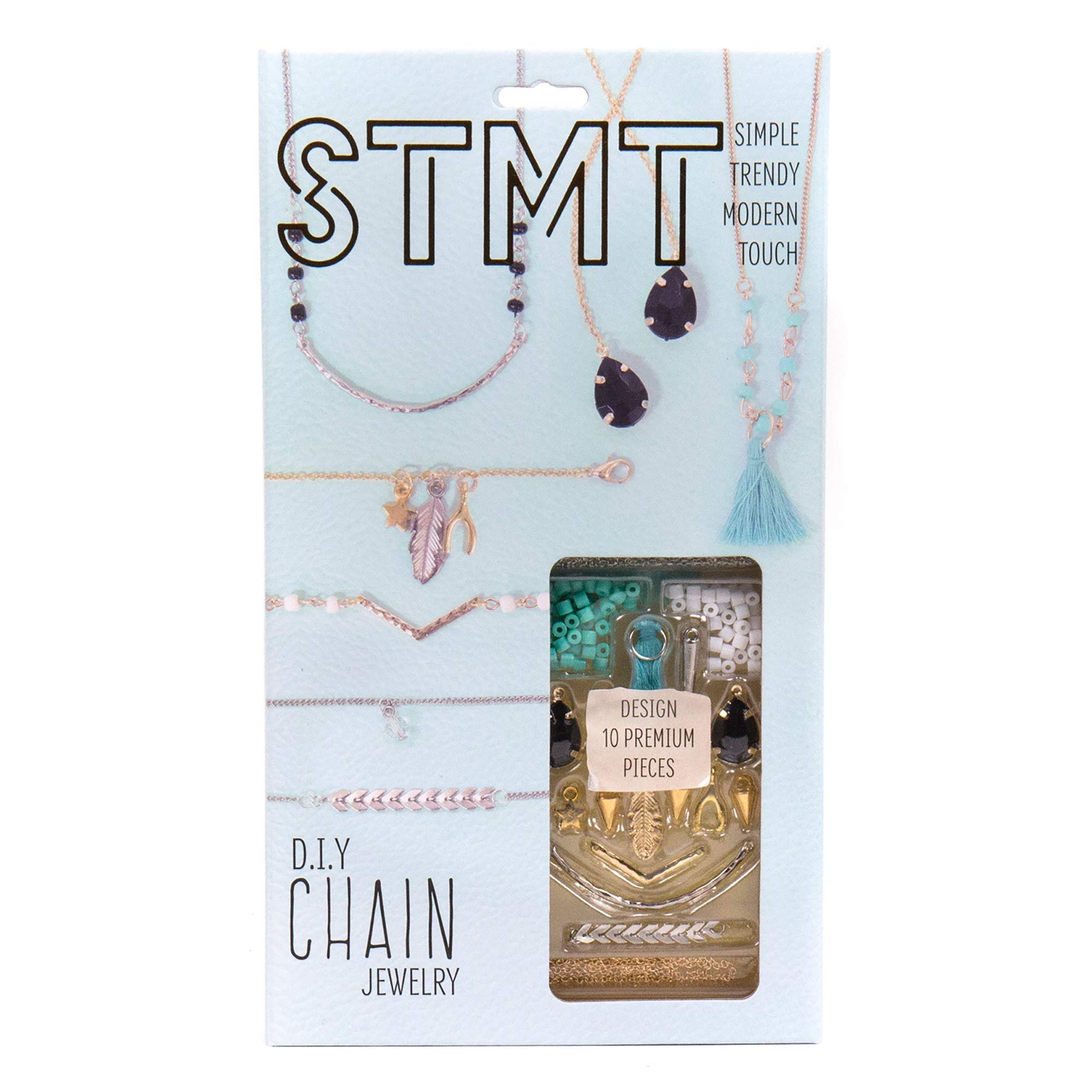 STMT DIY Chain Jewelry by Horizon Group USA, Design Upto 10Piece of Personalized Jewelry, Includes Trendy Charms, Chains, Tassels, Gemstones, Beads & More, Gold, Blue, Black & Silver by STMT
