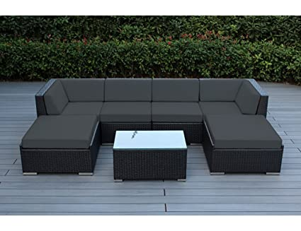 Ohana 7 Piece Outdoor Patio Furniture Sectional Conversation Set, Black  Wicker With Gray Cushions