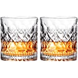 Whiskey Glass Set of 2 Mountain Crystal Wedge Glass Old Fashioned Tasting Tumblers Funny Gift Box for Dad