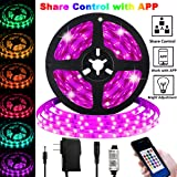 LED Strip Lights, Share Control with APP 16.4ft/5m Plug in RGB Color Changing Lighting 150 LED 5050 Strip Tape Light Share Co