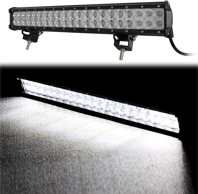 Willpower 20 pouces 126W a men/é la barre lumineuse combo spot flood lampes de travail hors route avec plaque dimmatriculation pare-chocs avant//support de cadre et kit de faisceau de c/âblage C