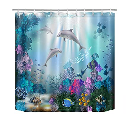 LB Dolphin Shower Curtain For Kids Adults Bathroom With Hooks Blue Ocean Underwater Fish Coral