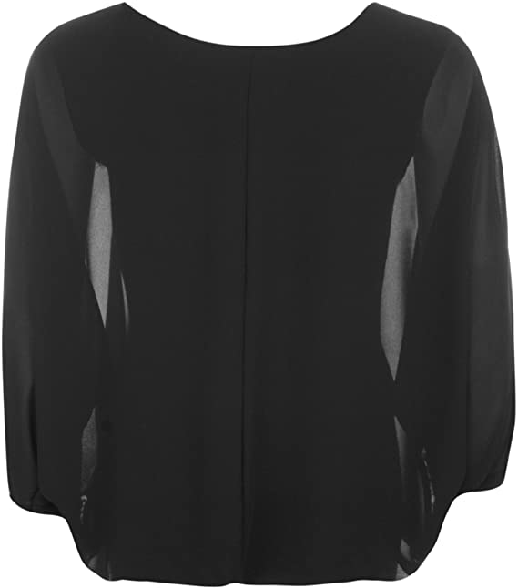 Plus Womens Chiffon Sheer Lined Batwing Long Sleeve Necklace Ladies Top  14-20: Amazon.co.uk: Clothing