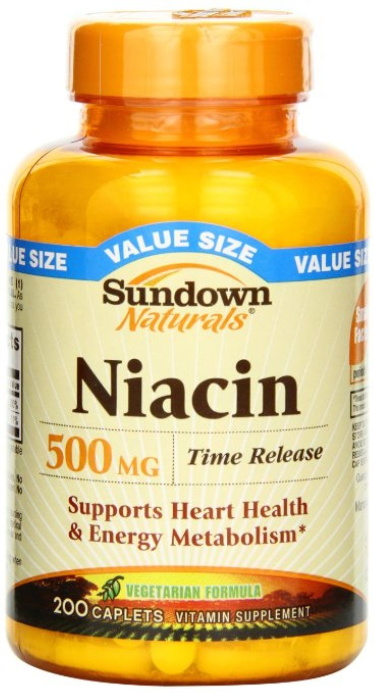 Sundown Naturals Niacin 500 mg Time Release Caplets 200 ea (Pack of 7)