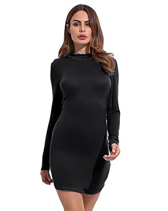 41ea7d5b109 CNFIO Women s Mini Dress Long Sleeve Elegant Sexy Slim Cocktail Dress Black  M  Amazon.co.uk  Clothing