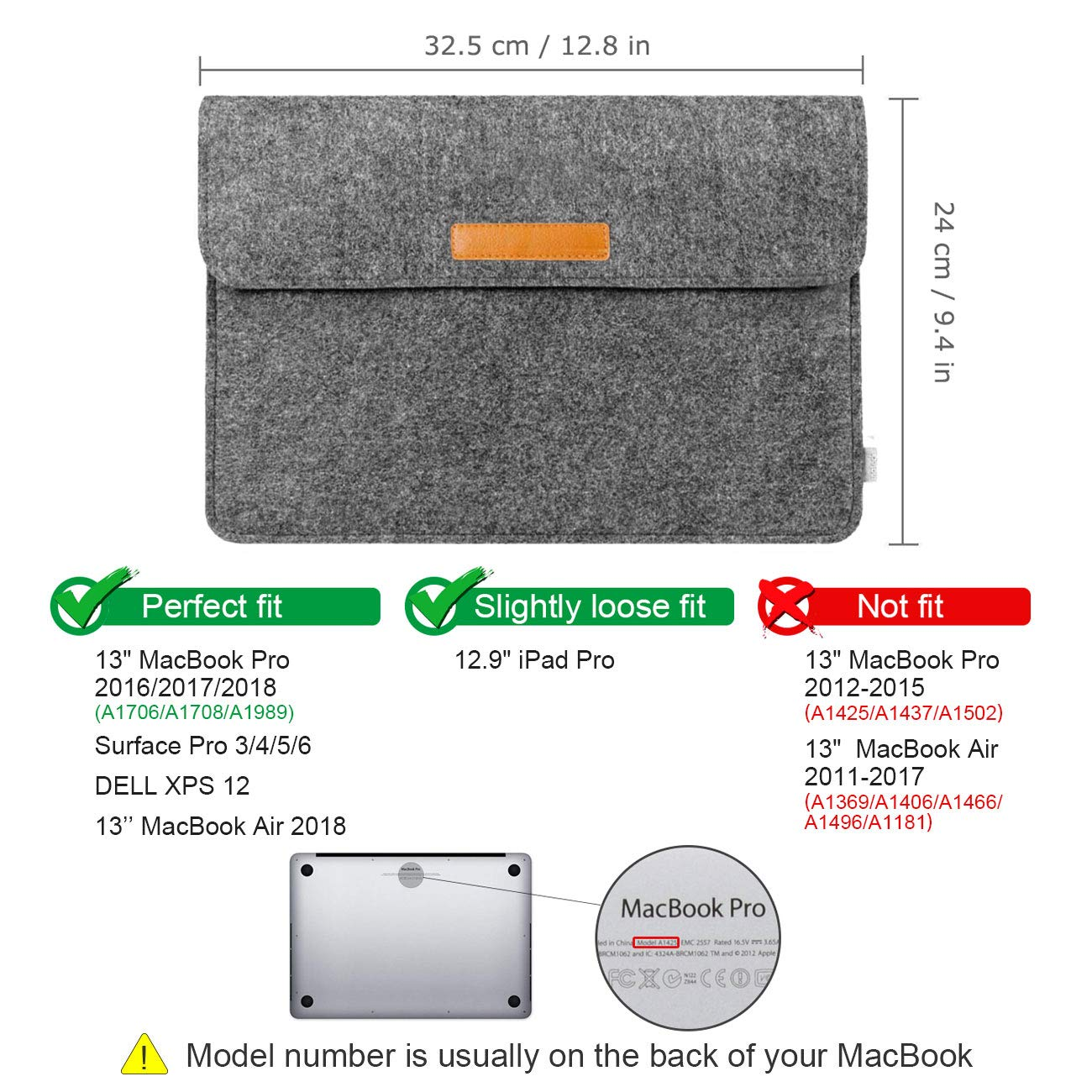 Inateck 12.3-13 Inch Laptop Sleeve Case Compatible 2018 MacBook Air, MacBook Pro 13'' 2018/2017/2016 (A1989/A1706/A1708)/Microsoft Surface Pro 6/5/4/3,  - Dark Gray by Inateck (Image #2)