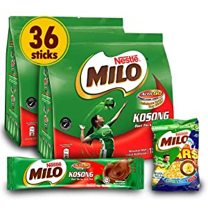 NESTLÉ 2-Pack MILO Chocolate Powder and 1-Pack Nestle Cereal Snack Bundle (Milo or Koko Krunch or Honey Star, 30 g)- Instant Malt Chocolate Milk Powdered Drink, ORIGINAL - On The Go Fortified Powder Energy Drink - Less Sweet than Milo 3 in 1 - Imported from Malaysia (Total 36 Sticks)