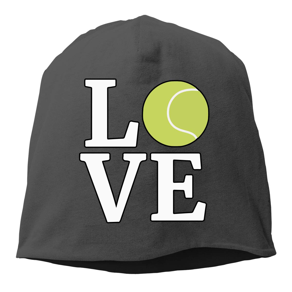 Love Tennis Ball Men Women Winter Helmet Liner Fleece Skull Cap Beanie Hat Running Black