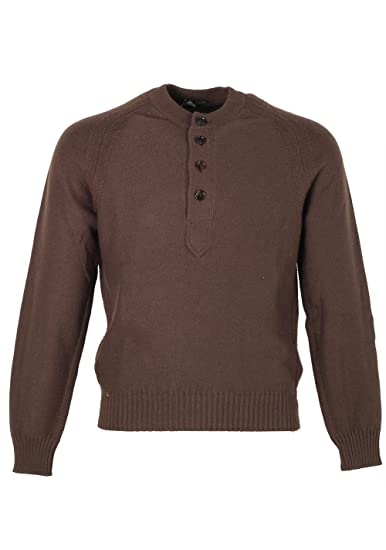 CL - Tom Ford Brown Long Sleeve Henley Sweater Size 48 38R U.S. in Silk 704d6280bd0cf