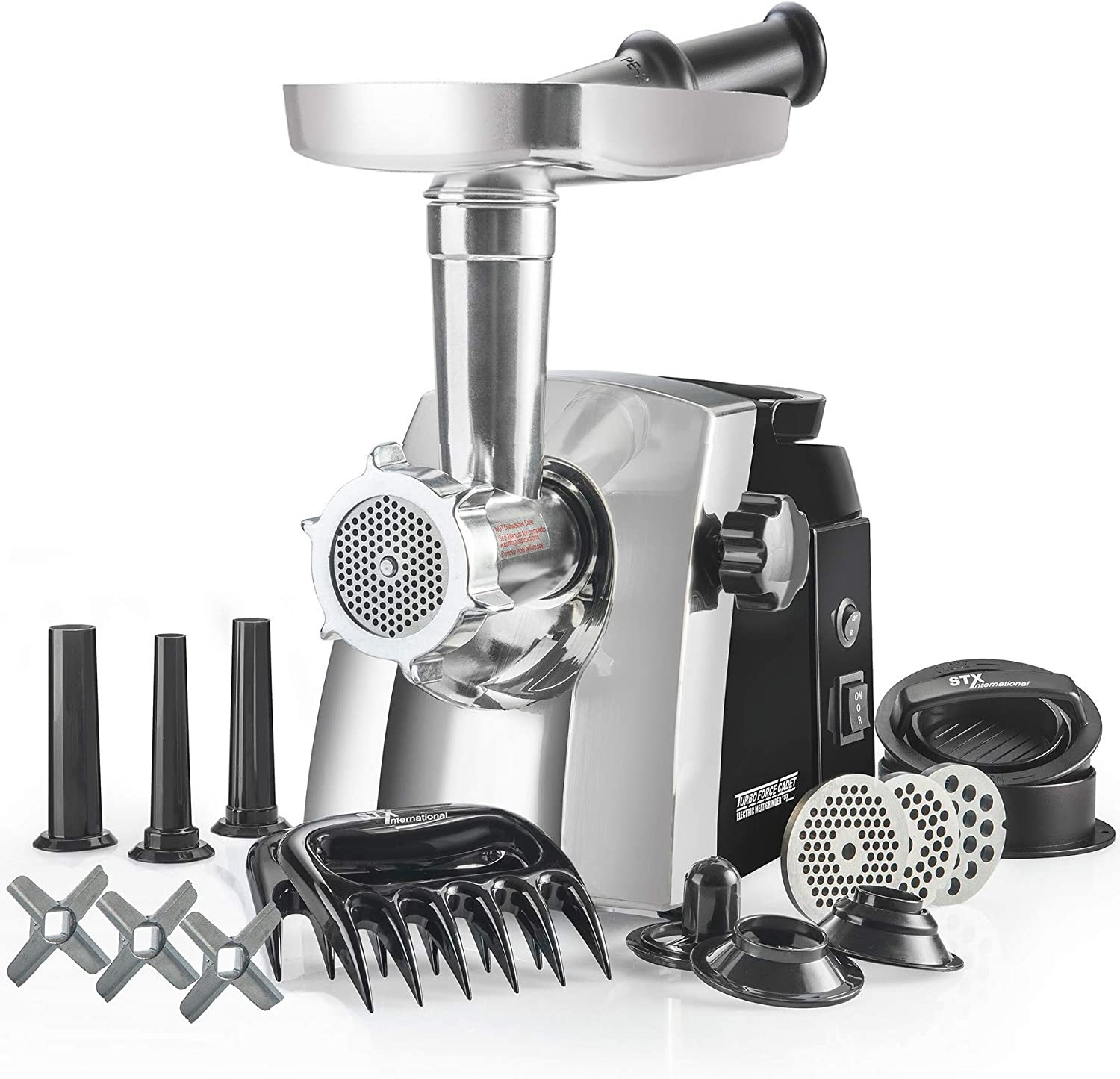STX Turboforce Cadet - Platinum Edition - Electric Meat Grinder & Sausage Stuffer - 3 Grinding Plates, 3 S/S Blades, 3 Sausage Tubes, 1 Kubbe Maker, 2 Meat Claws and Burger-Slider Press