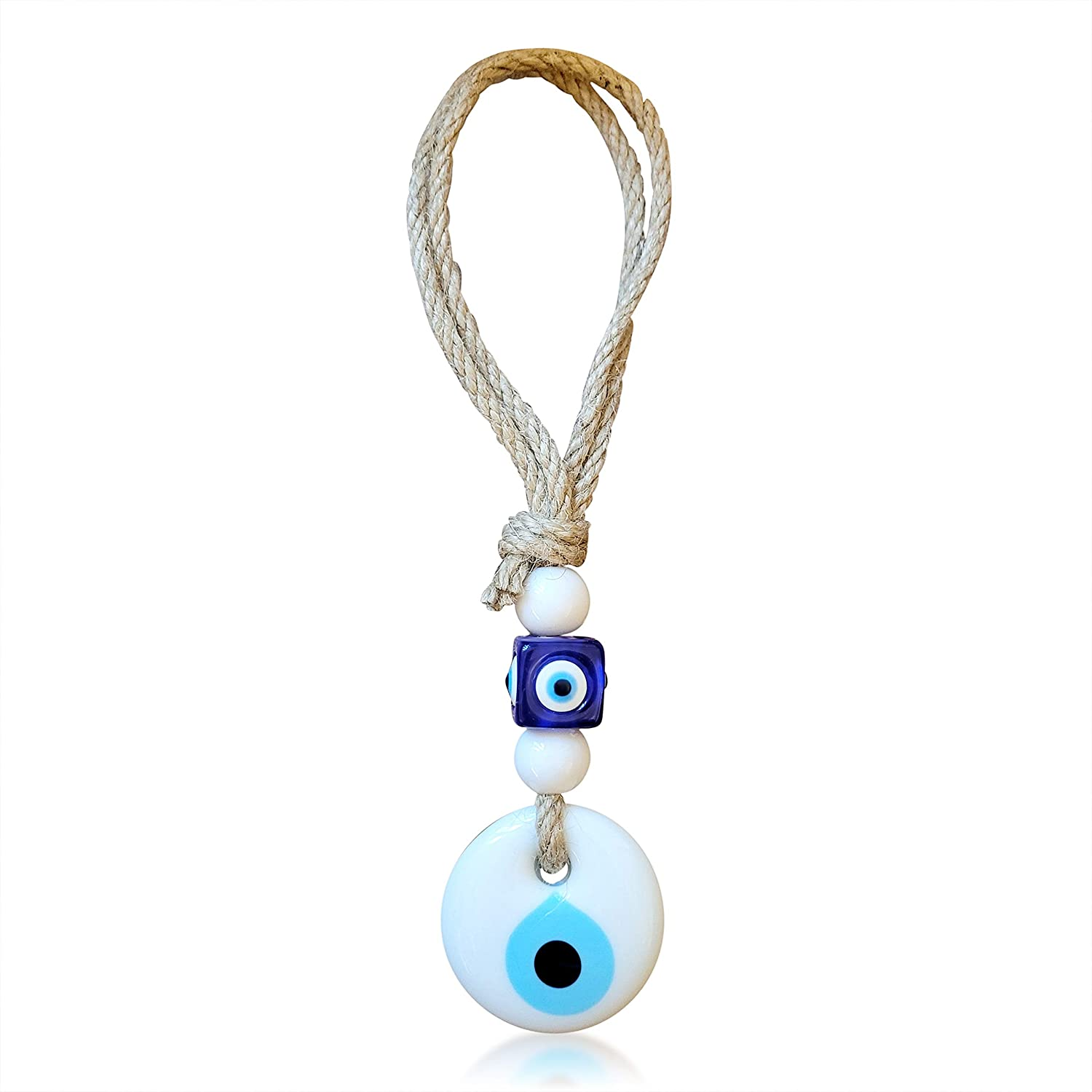 Evil Eye Hanging Car Charm Ornament Accessory for Rear View Mirror in White Glass for Blessings, Reflect Negative Energy, Perfect New Driver Gift, Party Favor for Weddings, Closing Gift Purchase